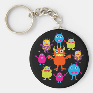 Cute Funny Monster Party Creatures in Circle Key Ring