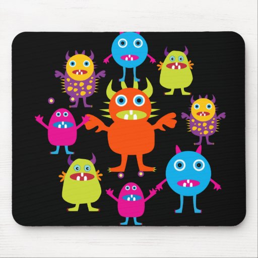 Cute Funny Monster Party Creatures in Circle Mouse Pad