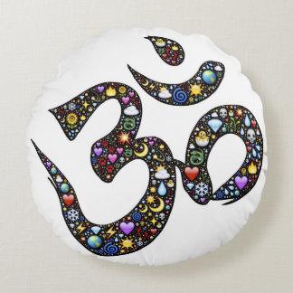 Cute funny ohm emoji om namaste yoga symbol emojis round cushion