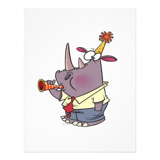 cute funny party rhino cartoon full color flyer