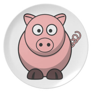 Cute Funny Pig Plate