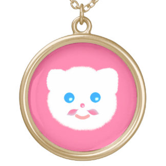 cute funny pink moustache kitty cat necklace