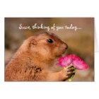 Cute Funny Prairie Dog Holding Flowers Card