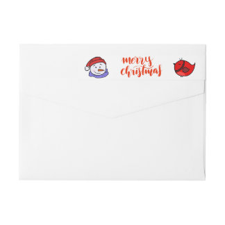 Cute Funny Red Bird Drawing | Christmas Snowman Wrap Around Label