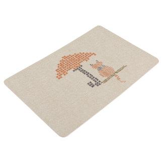 Cute Funny Red Cat Linen Texture Floor Mat