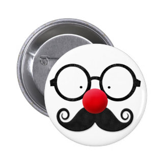 Cute funny red nose round black glasses moustache 6 cm round badge