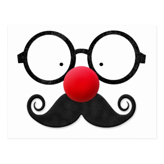 Cute funny red nose round black glasses moustache