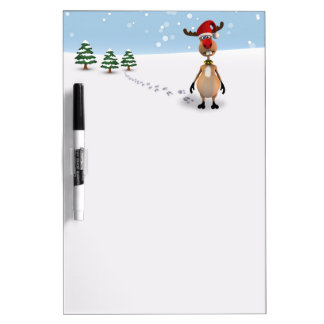 Cute Funny Reindeer Christmas Tree Dry Erase Board