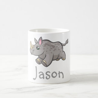 Cute Funny Rhino Wildlife Jungle Animal Kids Name Coffee Mug