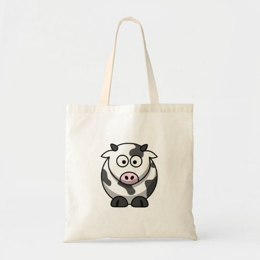 Cute Funny Round Cartoon Cow with Pink Nose Tote Bags