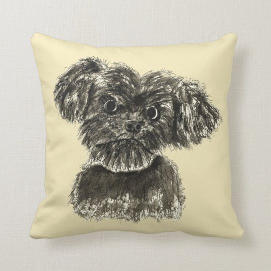 Cute Funny Schnauzer Puppy Watercolour Dog Design Cushion
