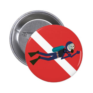 CUTE FUNNY SCUBA DIVER WITH  RED DIVING FLAG GIFT 6 CM ROUND BADGE