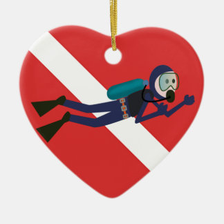 CUTE FUNNY SCUBA DIVER WITH  RED DIVING FLAG GIFT CERAMIC HEART DECORATION