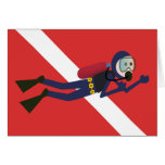 CUTE FUNNY SCUBA DIVER WITH  RED DIVING FLAG GIFT GREETING CARD