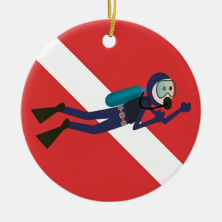 CUTE FUNNY SCUBA DIVER WITH  RED DIVING FLAG GIFT ROUND CERAMIC DECORATION
