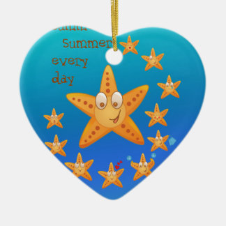 Cute funny sea star among little ones ceramic heart decoration
