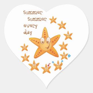 Cute funny sea star among little ones heart sticker