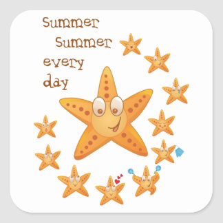 Cute funny sea star among little ones square sticker