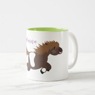 Cute funny shetland pony cartoon illustration Two-Tone coffee mug