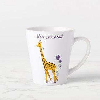 CuteFunnySkatingCartoonGiraffe Love Mum Latte Mug