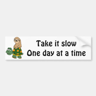Cute Funny Sloth on Turtle Cartoon Bumper Sticker