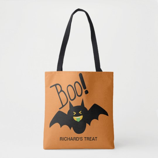 Cute Funny Smiling Bat Boo Halloween Candy Tote