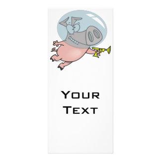 cute funny space pig cartoon customised rack card