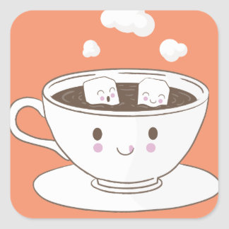 Cute funny sugar cubes bathing in coffee cup square sticker