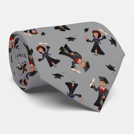 Cute Funny Tiny Cartoon People Graduation Tie