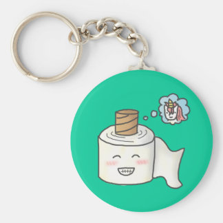 Cute Funny Toilet Paper Dreaming It is Unicorn Key Ring