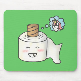 Cute Funny Toilet Paper Dreaming It is Unicorn Mouse Pad