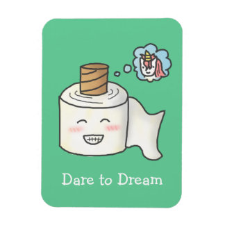 Cute Funny Toilet Paper Dreaming It is Unicorn Magnet