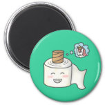 Cute Funny Toilet Paper Dreaming Unicorn 6 Cm Round Magnet