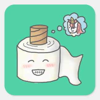 Cute Funny Toilet Paper Dreaming Unicorn Stickers