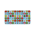 Cute funny trendy Christmas characters pattern Label