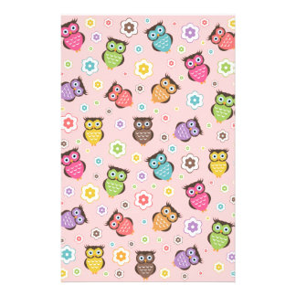 Cute funny trendy owls and flowers pattern customised stationery