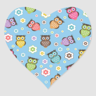 Cute funny trendy owls and flowers pattern heart sticker