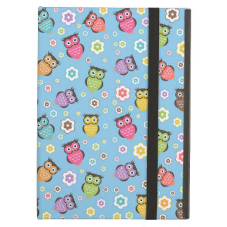 Cute funny trendy owls and flowers pattern iPad air cover
