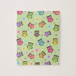 Cute funny trendy owls and flowers pattern jigsaw puzzle