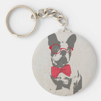 Cute funny trendy vintage animal French bulldog Basic Round Button Key Ring