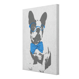 Cute funny trendy vintage animal French bulldog Canvas Print