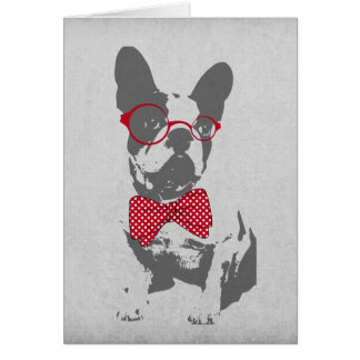 Cute funny trendy vintage animal French bulldog Greeting Card