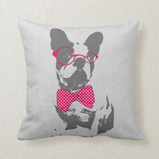 Cute funny trendy vintage animal French bulldog Cushion