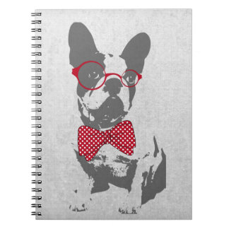 Cute funny trendy vintage animal French bulldog Notebooks