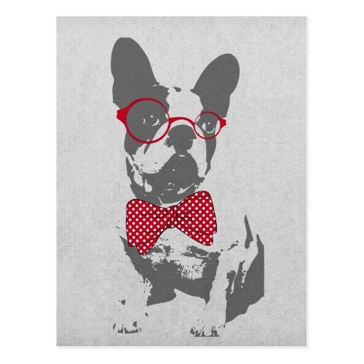 Cute funny trendy vintage animal French bulldog Post Card
