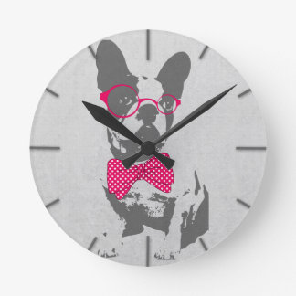Cute funny trendy vintage animal French bulldog Round Clock