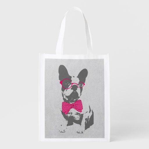Cute funny trendy vintage animal French bulldog Grocery Bag