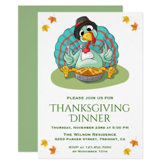 Cute Funny Turkey Thanksgiving Dinner Party Invite