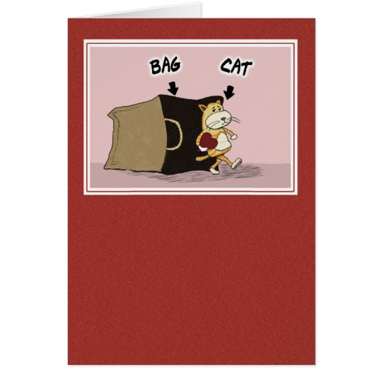 Cute, Funny Valentine's Day: Cat's Out of the Bag Card