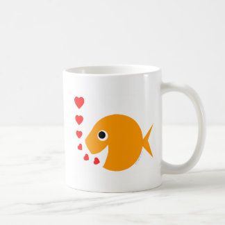 Cute Funny Valentine's Day Goldfish Coffee Mug Basic White Mug